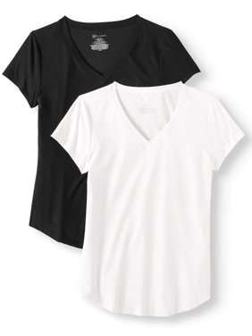 Juniors' Brushed Short Sleeve V-Neck T-Shirt 2-Pack