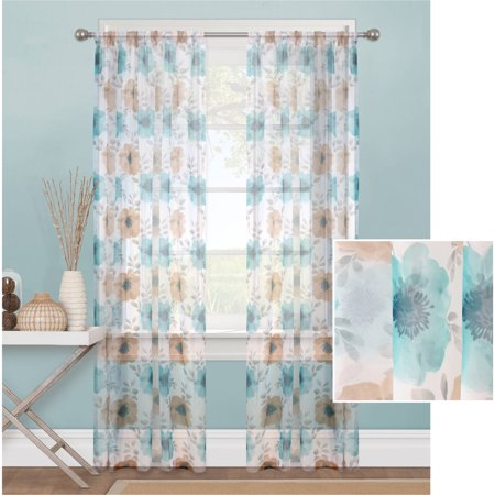 Mainstays Sheer Blossom Window Curtain Panel
