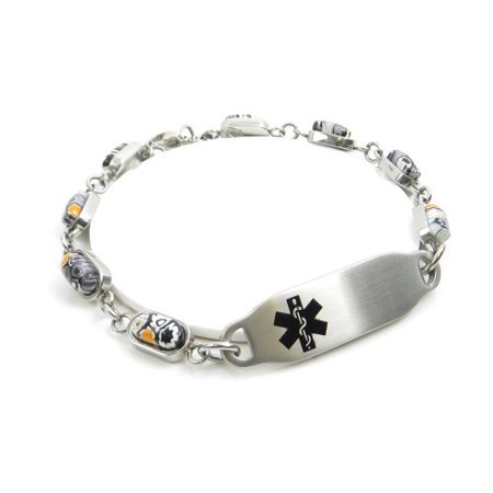 MyIDDr - Engraved Diabetic Bracelet, Black & White Flower Pattern ()