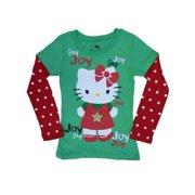 b42cb2db Hello Kitty Girls Green & Red T-Shirt Holiday Joy Tee Shirt
