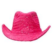f372a9209e849b Glitter Sequin Trim Cowboy Hat - Hot Pink