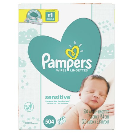 Pampers Baby Wipes Sensitive 9X Pop-Top Packs 504 Count Dots Baby Wipe Case