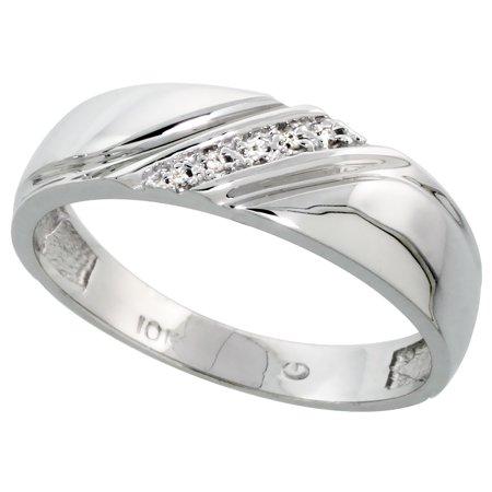 10k White Gold Mens Diamond Wedding Band Ring 0.03 cttw Brilliant Cut, 1/4 inch 6mm wide Cut White Diamond Band