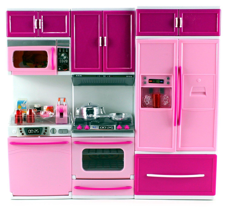 Kids Battery Operated Dollhouse Kitchen Playset Refrigerator Stove Pink PSK35