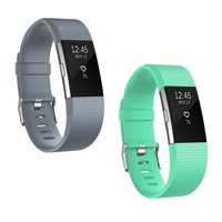 2 Packs Soft Silicone Sport Replacement Accessories Bands Wrist Strap for Fitbit Charge 2