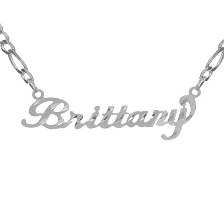Personalized Sterling Silver, Gold Plated, 10k or 14k Diamond Cut Nameplate Necklace with an 18 inch Silver Plated Figaro (Any Nameplate Necklace)
