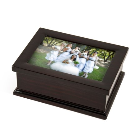 Sophisticated Modern 4 X 6 Photo Frame Musical Jewelry Box - Heart to Heart - SWISS