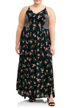Women's Plus Size Strappy Twin Print Maxi Dress