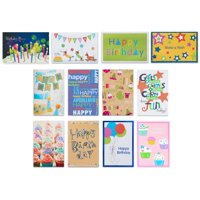 American Greetings Assorted Birthday Cards and White Envelopes, 12ct