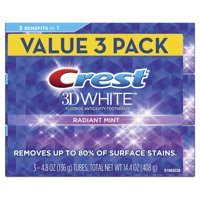 Crest 3D White Whitening Toothpaste, Radiant Mint, 4.8 oz, Pack of 3