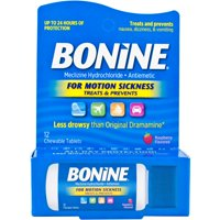 Bonine Motion Sickness Relief Chewable Tablets, Raspberry - 12 ct