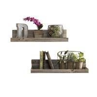 Barnwood Floating Shelves, Set of 2 Natural