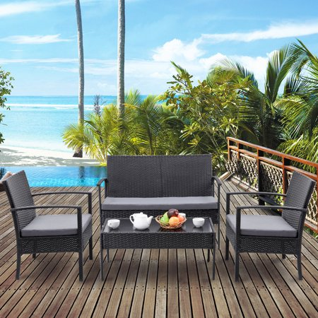 Costway 4 PCS Outdoor Patio Rattan Wicker Furniture Set Table Sofa Cushioned Deck Black ()