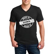 Made in IA Iowa Flag Des Moines Flag Cyclones Hawkeyes Home University of Iowa Men V-Neck Shirts Ringspun