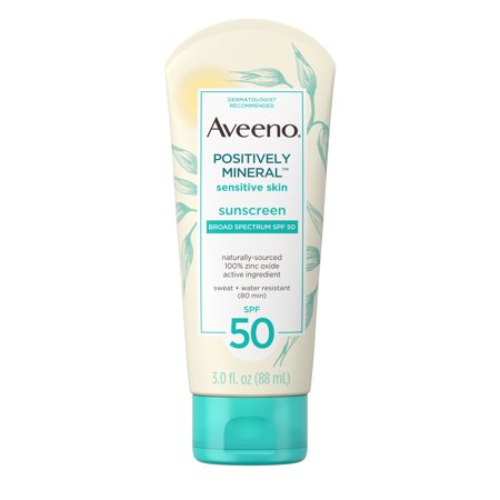 Aveeno Positively Mineral Sensitive Sunscreen Lotion SPF 50, 3 fl. oz