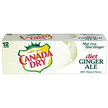 (2 Pack) Diet Canada Dry Ginger Ale, 12 Fl Oz Cans, 12 Ct (German Ale)
