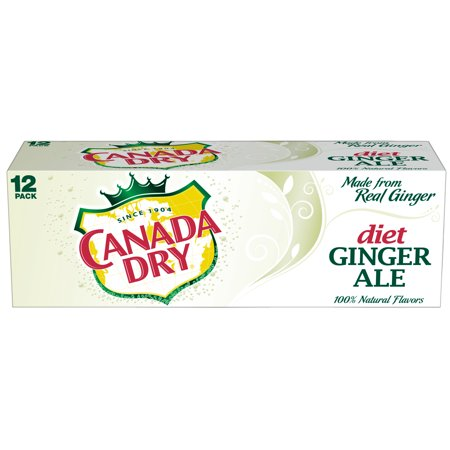 (2 Pack) Diet Canada Dry Ginger Ale, 12 Fl Oz Cans, 12 Ct