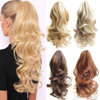 LUXUR Long Curly Ponytail Clip In Hair Extensions Claw On Pony Tail Real As Human US