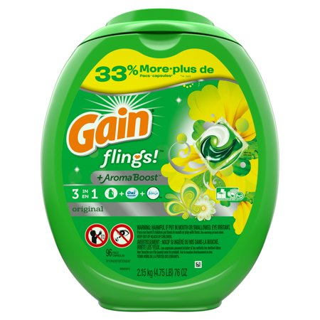 Gain flings! Liquid Laundry Detergent Pacs, Original, 96 count 32 Ounce Laundry Detergent