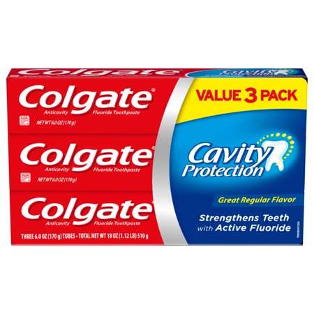 Colgate Cavity Protection Toothpaste with Fluoride, Great Regular Flavor - 6 Ounce, 3 -