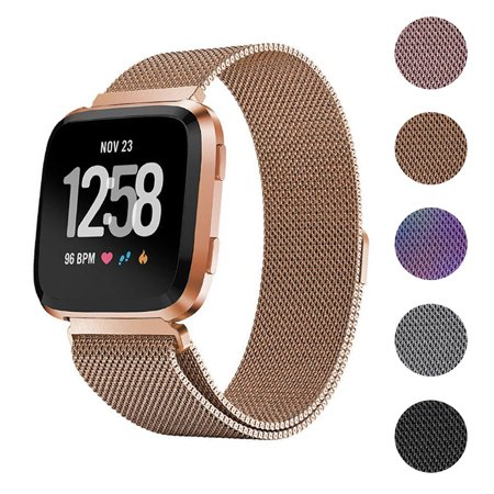 EEEKit Stainless Steel Large Loop Strap Wrist Band for Fitbit Versa & Fitbit Versa Lite Fitness Watch, Replacement Metal Bracelet Wristbands for Women Men