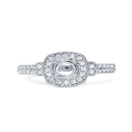 1/2CT Diamond Cushion Halo Engagement Ring Setting Mount Solid 14K White Gold