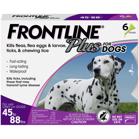 - FRONTLINE Plus for Large Dogs (45-88 lbs) Flea and Tick Treatment, 6 Doses