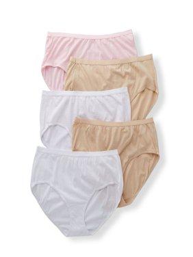 Women's Plus Cotton Brief Assorted Panties - 5 Pack