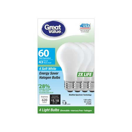 Great Value Energy Saver Halogen Bulbs, 43W (60W Equivalent), Soft White, Dimmable, 4 Count
