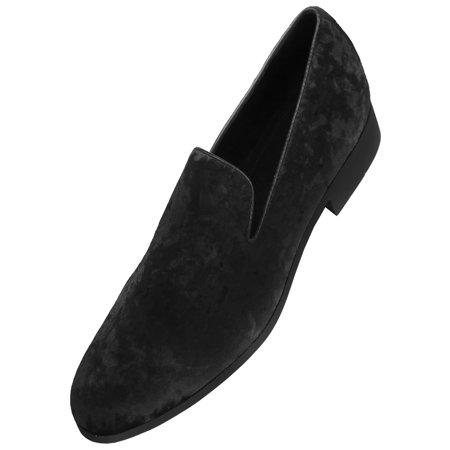 Amali Mens Crushed Velvet Smoking Slipper Nightclub Loafer, Slip On Formal Dress Shoe](Red Converse Toddler Shoes)