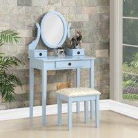 Roundhill Moniya Wood Makeup Vanity Table and Stool Set, Blue