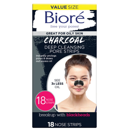 Biore Deep Cleansing Charcoal Pore Strips, 18 (Best Nose Pore Strips)