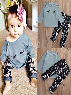 2Pcs Newborn Infant Baby Girls Tops Long Sleeve Shirt+Pants Outfits Set Clothes