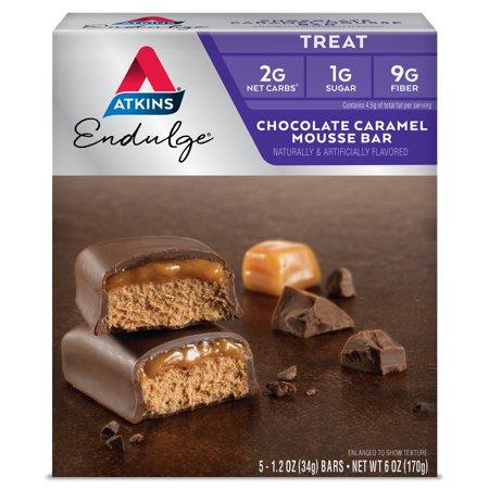 Atkins Endulge Chocolate Caramel Mousse Bar, 1.20oz, 5-pack (Treat) (Atkins Endulge Candy)