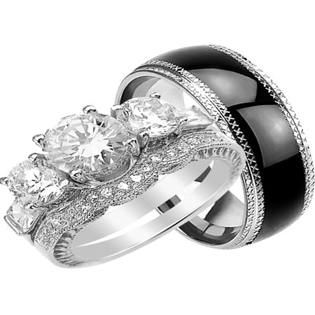His and Hers Wedding Ring Set Matching Wedding Bands for Him and Her (7/9](Black And White Wedding Sets)