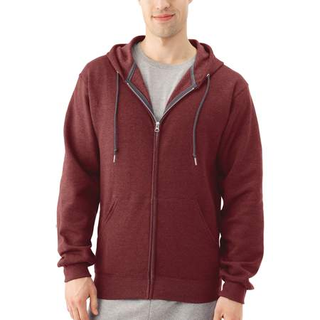 Fruit of the Loom Big Men's Dual Defense EverSoft Fleece Full Zip Hooded (Black Tek Patch Hooded Sweatshirt)