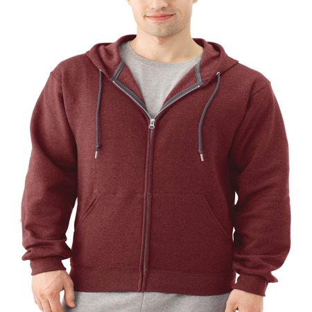Quilted Hooded Zip Sweatshirt - Fruit of the Loom Big Men's Dual Defense EverSoft Fleece Full Zip Hooded Sweatshirt