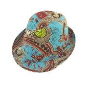 186fa21e14d Men Women Summer Travel Floral Print Green Red Fedora Trilby Hat