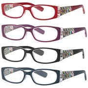 0fa1e17dd5 ALTEC VISION Pack of 4 Stylish Pattern Frame Readers Spring Hinge Reading  Glasses for Women -
