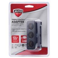 Auto Drive Triple 12V/ 24V & USB Adapter