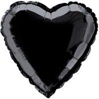Foil Balloon, Heart, 18 in, Black, 1ct