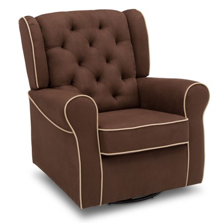 Delta Children Emerson Nursery Glider Swivel Rocker Chair, Cocoa with Beige
