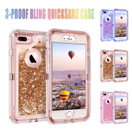 Magicfly Phone Cover Cases Hybrid 3-Layer Heavy duty Armor For iPhone 6 7 8 Plus X XS Max Glitter Liquid Shockproof Bling Quicksand Case (Iphone 6 Plus Bling Phone Cases)
