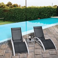 3 PCS Outdoor Patio Pool Lounger Set Reclining Garden Chairs Glass Table