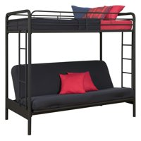 DHP Twin Over Futon Metal Bunk Bed, Multiple Colors