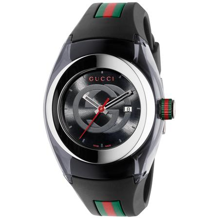 Gucci Unisex Black Swiss Sync Striped Rubber Strap Watch