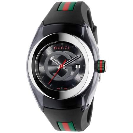 - Unisex Black Swiss Sync Striped Rubber Strap Watch
