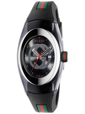 Unisex Black Swiss Sync Striped Rubber Strap Watch