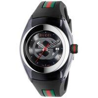Unisex Black Swiss Sync Gucci Striped Rubber Strap Watch
