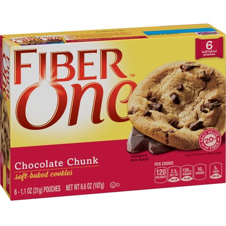 Fiber One Cookies Soft Baked Chocolate Chunk Cookies 6 Pouches 6.6